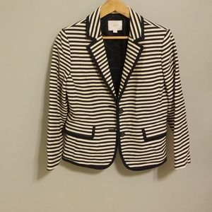 Ann Taylor Loft Navy and Cream Strip Blazer